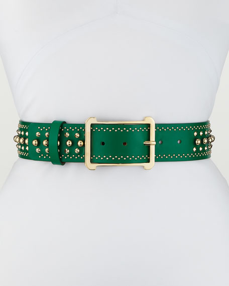 Leather Belt w/ Golden Buckle & Studs