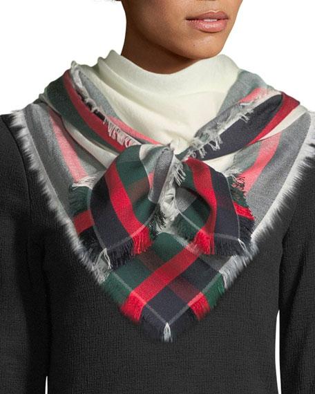 Gucci Silk-Wool Web Shawl