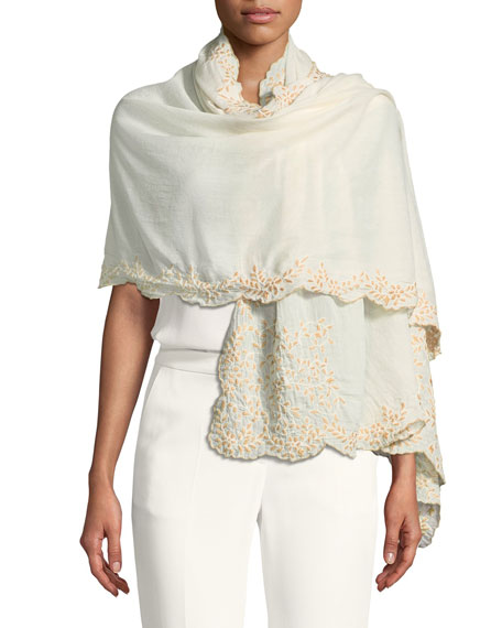 Faliero Sarti L'Acessorio New Bouquet Embroidered Shawl
