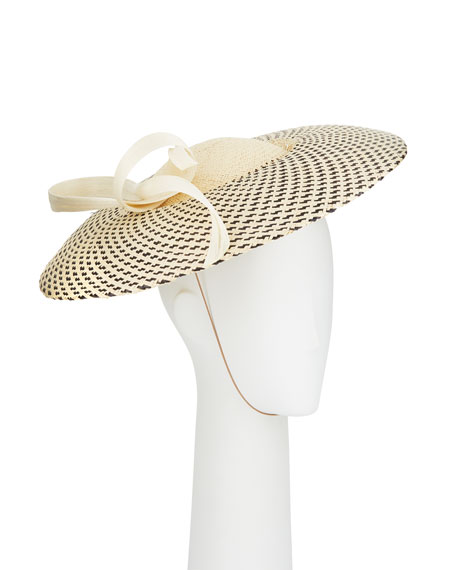 Jane Taylor BIANCA TWO-TONE WOVEN STRAW-BLEND HAT