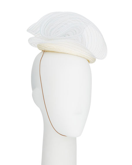 JANE TAYLOR Caterina Straw Pillbox Hat W/ Crinoline Trim in White