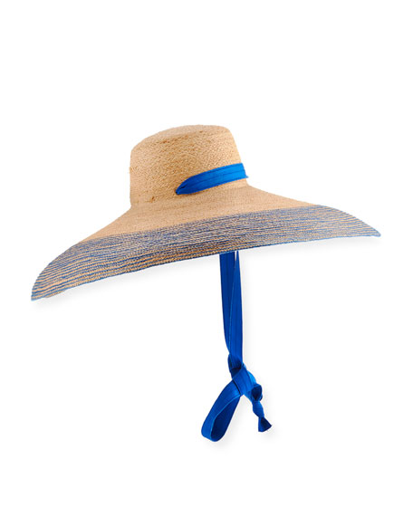 Lola Hats Nomad Wide-Brim Raffia Sun Hat with Ribbon