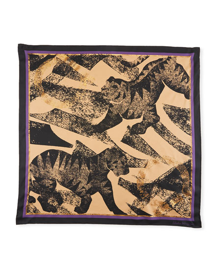 Tiger Leaves Silk Scarf