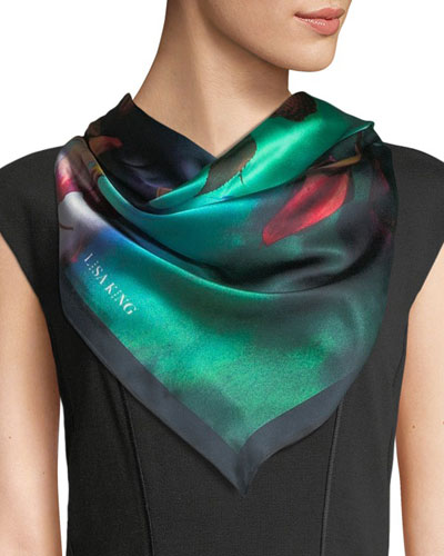 Inks and Petals Silk Scarf