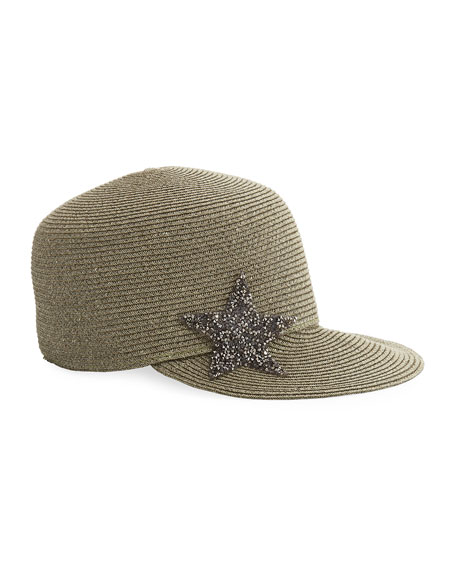 Star Embellished Woven Cap