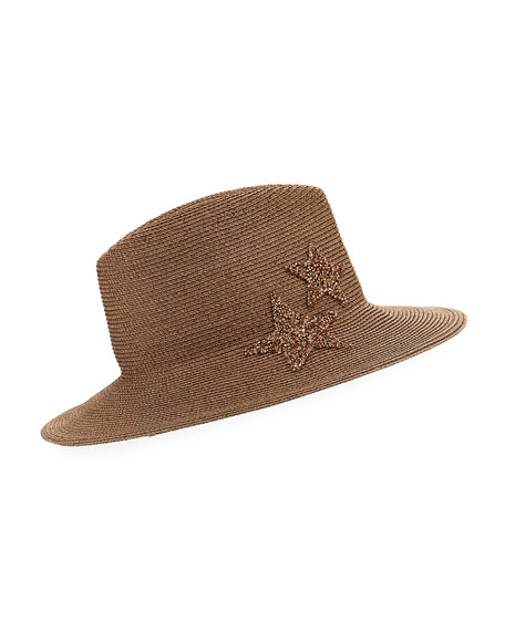 Star Embellished Woven Panama Hat