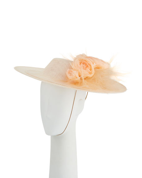 Philip Treacy Overlaid Straw Derby Hat w/ Rosettes