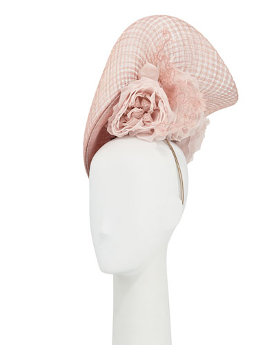 Halo Straw Hat w/ Rosettes & Lace