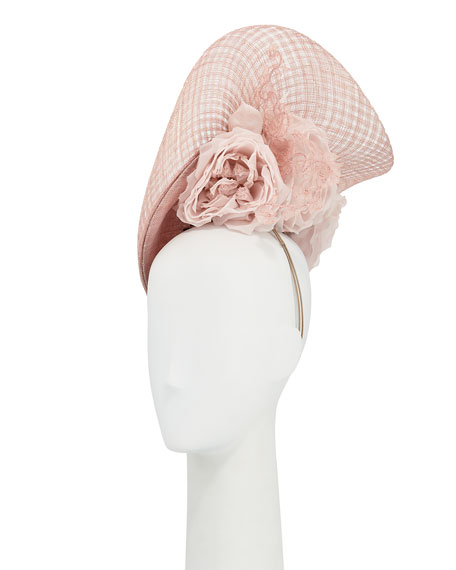 Philip Treacy Halo Straw Hat w/ Rosettes &