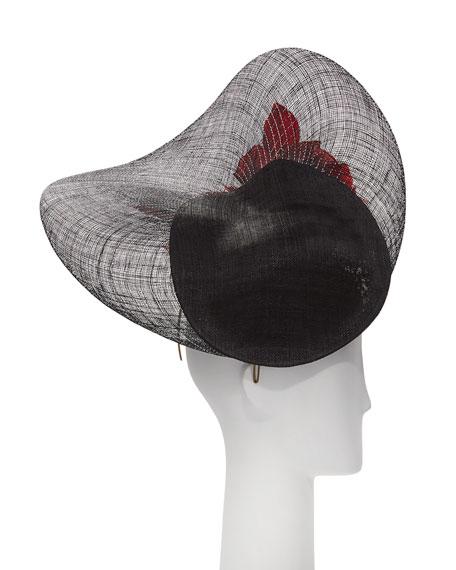 Lurex Halo Straw Hat w/ Rosettes