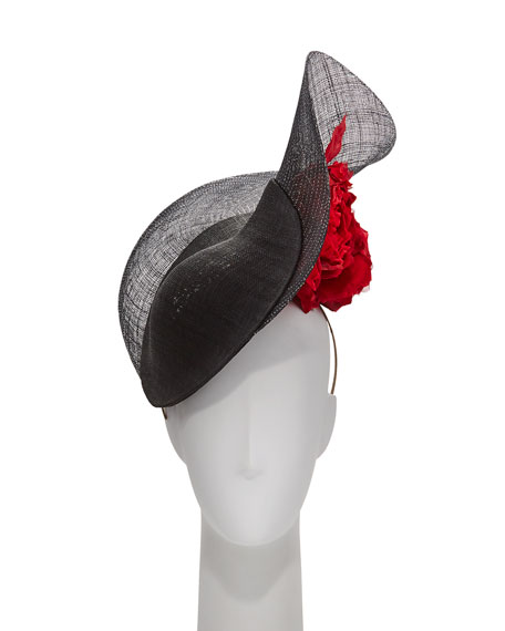 Philip Treacy Lurex Halo Straw Hat w/ Rosettes