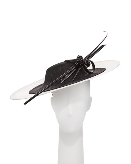 Philip Treacy Two-Tone Overlay Straw Hat