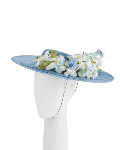 Philip Treacy Straw Hat w/ Orchids Detail