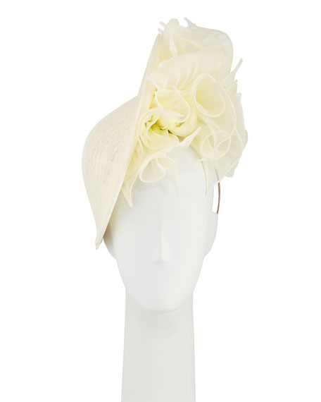 Philip Treacy Slice Straw Hat w/ Rosettes