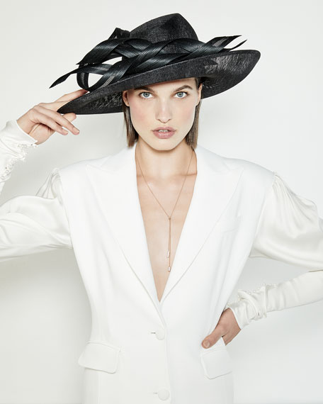 Oval Straw Hat w/ Self Ribbons
