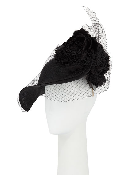 Sweep Straw Hat w/ Veiling & Rosettes