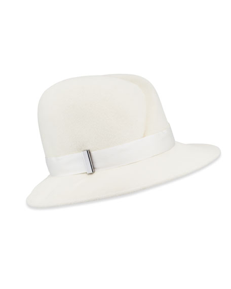Nell Handmade Wool Fedora Hat, Ivory