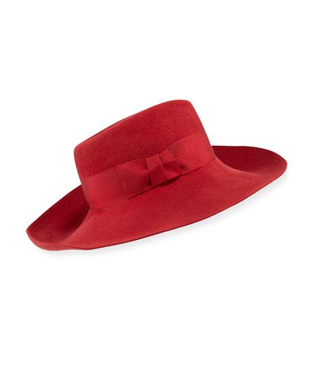 Eric Javits Candice Velour Fedora Hat w/ Ribbon