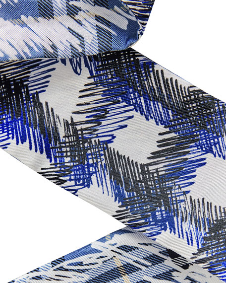 Scribble Check Silk Twill Slim Scarf