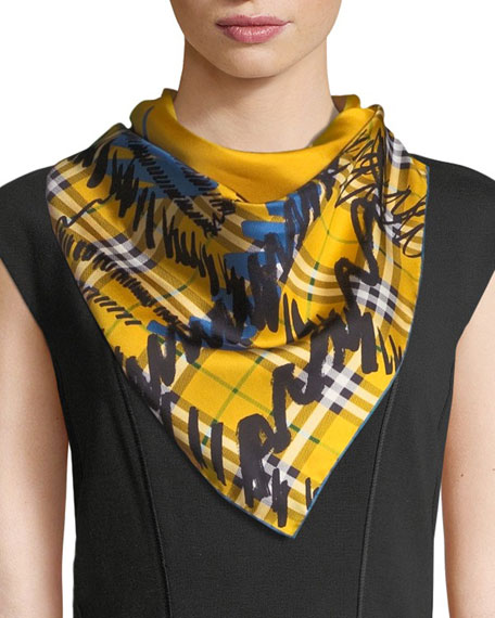 Twill Silk Scribble Check Scarf