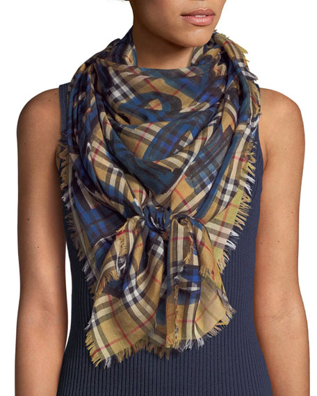 Burberry Graffiti-Print Check Wool-Silk Square Scarf