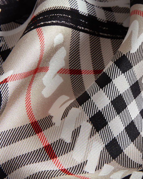 Silk Twill Scribble Vintage Check Scarf