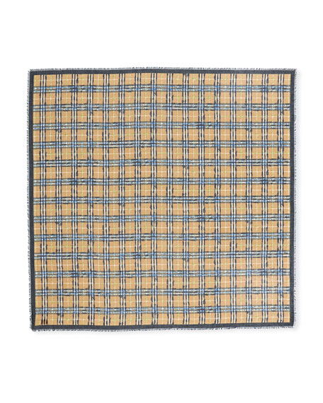 Scribble Check Cotton Large Square Scarf