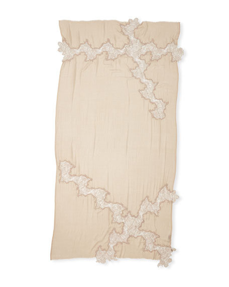 Opposite Attraction Lace-Trim Stole, Beige