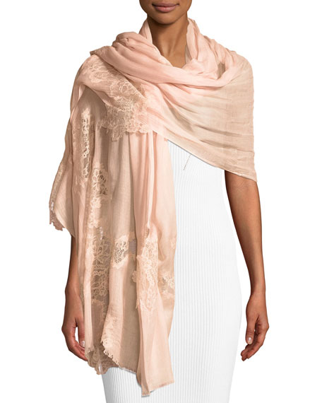 Bindya Accessories Opposite Attraction Lace-Trim Modal Stole