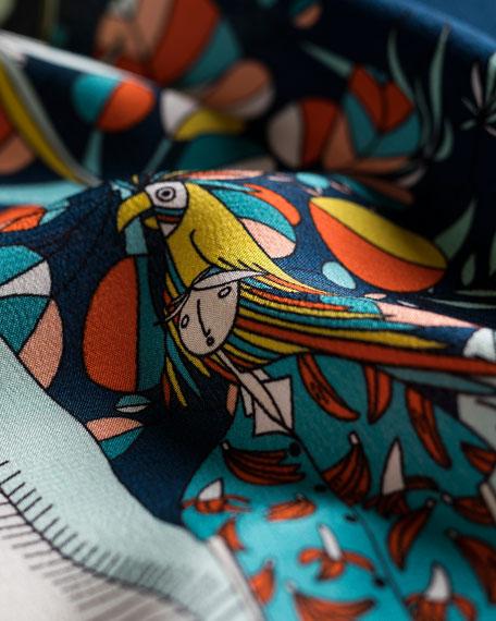 Feisty Tropical Printed Silk Scarf, Blue