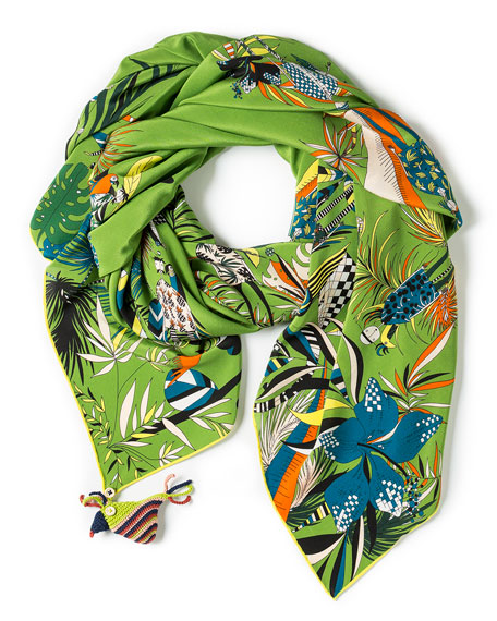 Feisty Tropical Printed Silk Scarf, Green