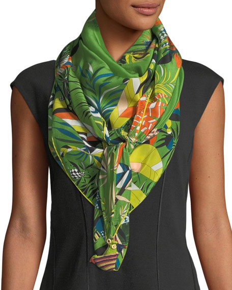 RUMISU FEISTY TROPICAL PRINTED SILK SCARF, GREEN