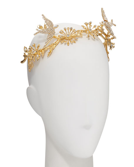 Paramour 14K Gold-Plated Crystal Birds & Branches Crown/Tiara