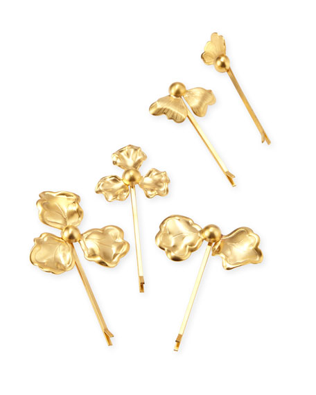 Epona Valley Astrid 14K Plated-Gold Petal Bobby Pins,