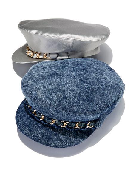 Marina Satin Newsboy Hat with Chain Detail