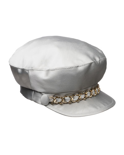 Marina Satin Newsboy Hat with Chain Detail