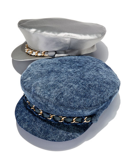Marina Denim Newsboy Hat with Chain Detail
