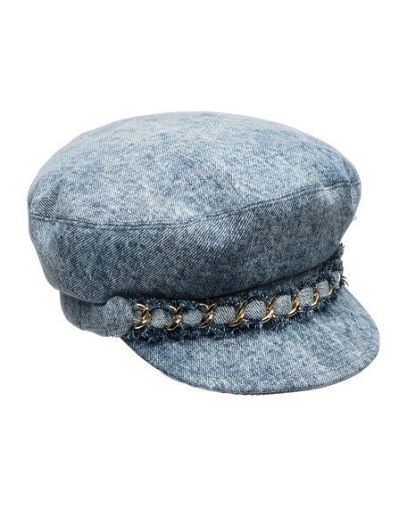 Eugenia Kim Marina Denim Newsboy Hat with Chain