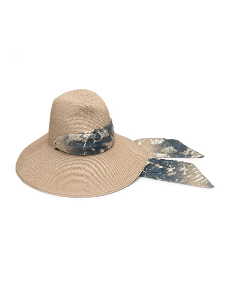Cassidy Hemp-Blend Sun Hat w/ Metallic Scarf
