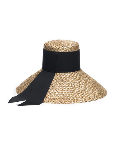 Mirabel Straw Sun Hat w/ Grosgrain Hat Band