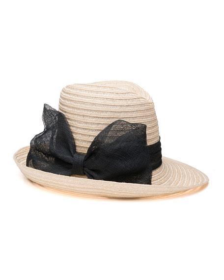 Eugenia Kim Dita Hemp Fedora Hat w/ Sinamay