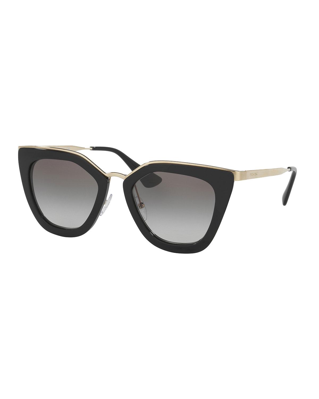 0fe51c6ff4 Prada Monochromatic Metal-Trim Geometric Cat-Eye Sunglasses