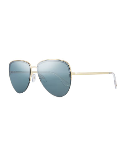 Empress Half-Rim Aviator Sunglasses