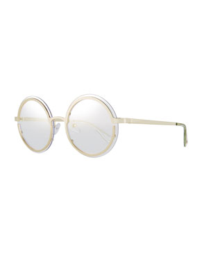 027fd45935 Le Specs Luxe Ovation Round Metal Sunglasses