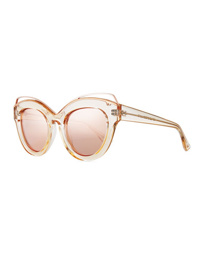 Halogazer Translucent Mirrored Cat-Eye Sunglasses