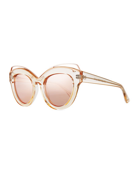 Halogazer Translucent Mirrored Cat-Eye Sunglasses