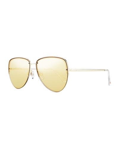 Empress Mirrored Half-Rim Aviator Sunglasses