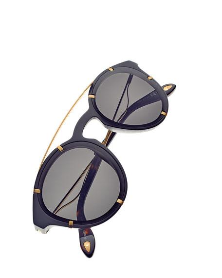 Acetate & Metal Round Sunglasses