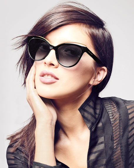 Round Acetate Sunglasses w/ Contrast Brow Detail