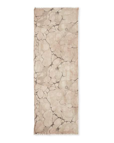 Marble-Print Fringed-Trim Scarf